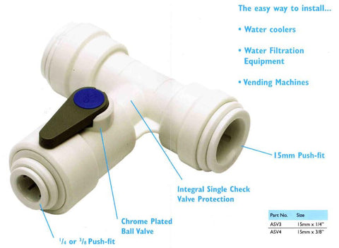 "15mm x 15mm x 1/4"" Pushfit Tee & Shut Off Valve"