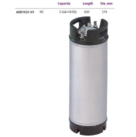 18.9 Litre (5 Gallon) Stainless Steel Keg c/w Relief Valve (Cornelius Type Homebrew Equipment - Beer Keg)