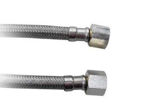 "3/8"" BSP Female Straight x 3/8"" BSP Female Straight, Stainless Steel Braided Hose, 300mm Long, WRAS Approved"