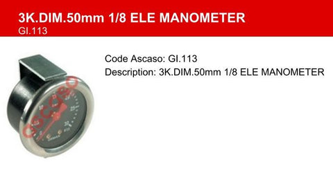 3K.DIM.50mm 1/8 ELE Manometer / Pressure Gauge For Gaggia