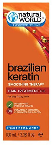 Natural World Brazilian Keratin Hair Therapy Treatment Oil for Shine, Soft 100ml