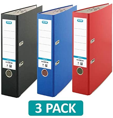 BEST A4 Lever Arch File Red Black Blue Pack Of 3 A4 Classic Coloured Pa UK STOC