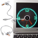 FLEXIBLE MINI USB LED CLOCK FAN
