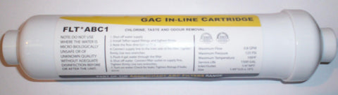 "ABC 10"" GAC In Line Water Filter c/w 1/4"" Push Fit"
