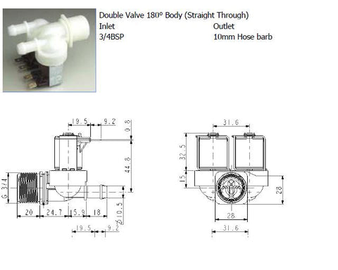 Double Mains Water Solenoid Valve, 180 Degree, 230v c/w 3/4 BSP Male x 12mm Barb