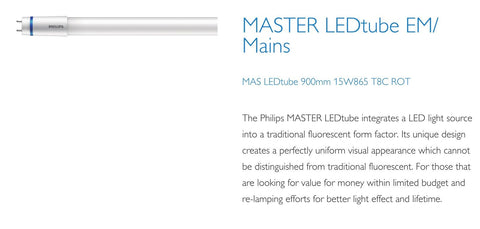 Philips 3ft (900mm) LED Tube, 15w, 6500K, 1575LM With Rotating Caps (EM Starter / Mains)