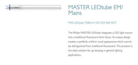 Philips 5ft (1500mm) LED Tube, 23w, 6500K, 3100LM With Rotating Caps (EM Starter / Mains)