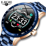 Lige Steel Band Smart Watch Men Heart Rate Blood Pressure