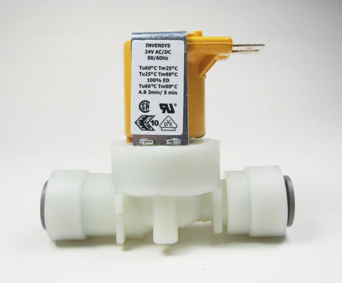 "Single 180 Degree Solenoid Valve, 24v, Comes With 3/8"" John Guest Speedfit Push Fit On The Inlet & Outlet"