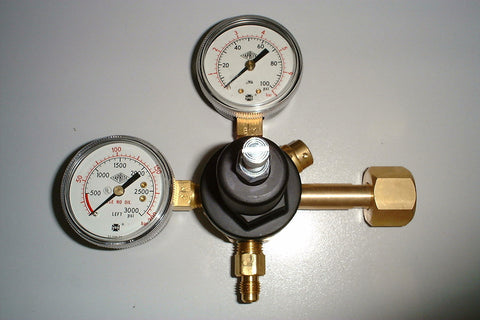 "Single Outlet CO2 Regulator, Bottle Mount, Twin Gauge c/w 1/4"" Male Flare (7/16"" UNF)"