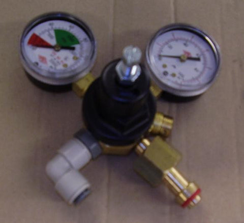 "Single Outlet CO2 Regulator, Bottle Mount, Twin Gauge c/w 3/8"" Pushfit"