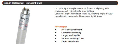 "White T5 LED ""Drop In"" Tube, 100v~240v AC, 4w, 30cm"