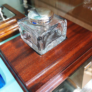 antique crystal inkwell with silver plated hinged lid on base
