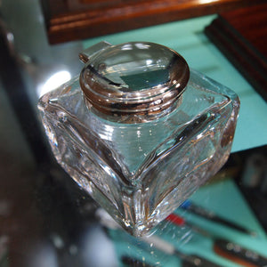 antique crystal inkwell with silver plated hinged lid