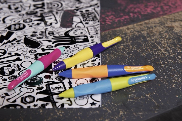 STABILO EASYergo Mechanical Pencil 1.4 - Neon Yellow and Violet