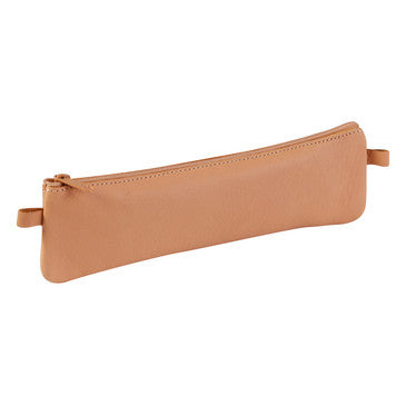 Age Bag Flat Slim Leather Pencil Case - Tan