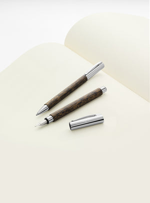 Faber-Castell Ambition Wood / Chrome-plated Fountain Pen Coconut Wood Image 2