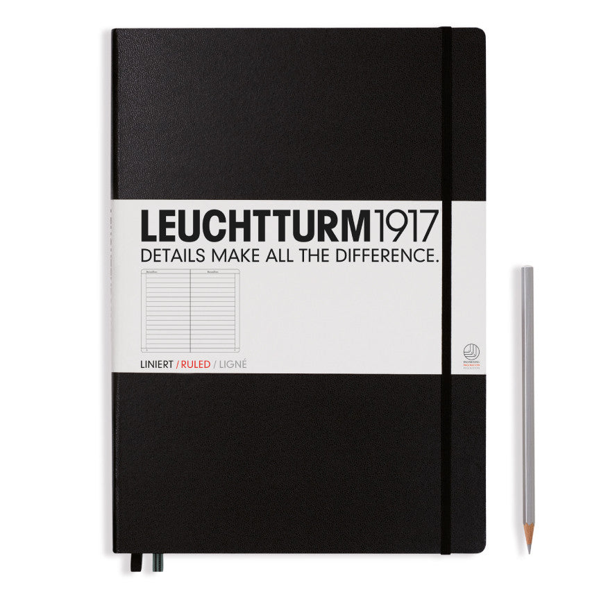 LEUCHTTURM1917 A4+ Master Classic Notebook Black Ruled