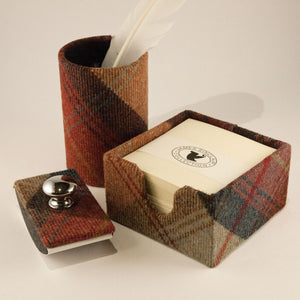 James Sinclair Norham desk set comprising of: rocker blotter, memo pad holder and pen pot