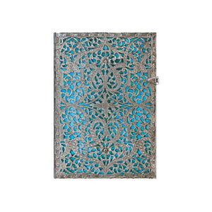 Paperblanks Silver Filigree Journal - Midi Maya Blue