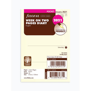 Filofax Pocket 2021 Diary Cotton Cream - Week on Two pages