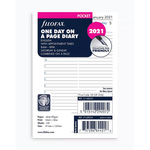 Filofax Pocket 2021 Diary - One day per page with appointments