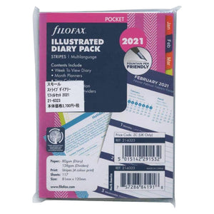Filofax Pocket 2021 Diary Pack - Stripes