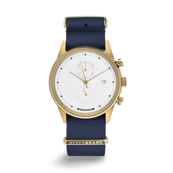CHRONO GOLD WHITE NAUTICAL BLUE LEATHER NATO - quality watches made affordable by HYPERGRAND
