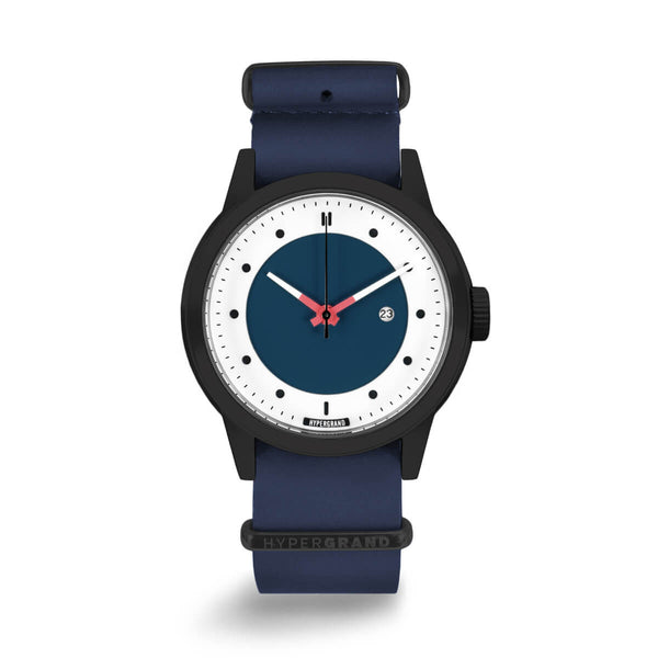 BLACK BLUE NAUTICAL LEATHER NATO - quality watches made affordable by HYPERGRAND