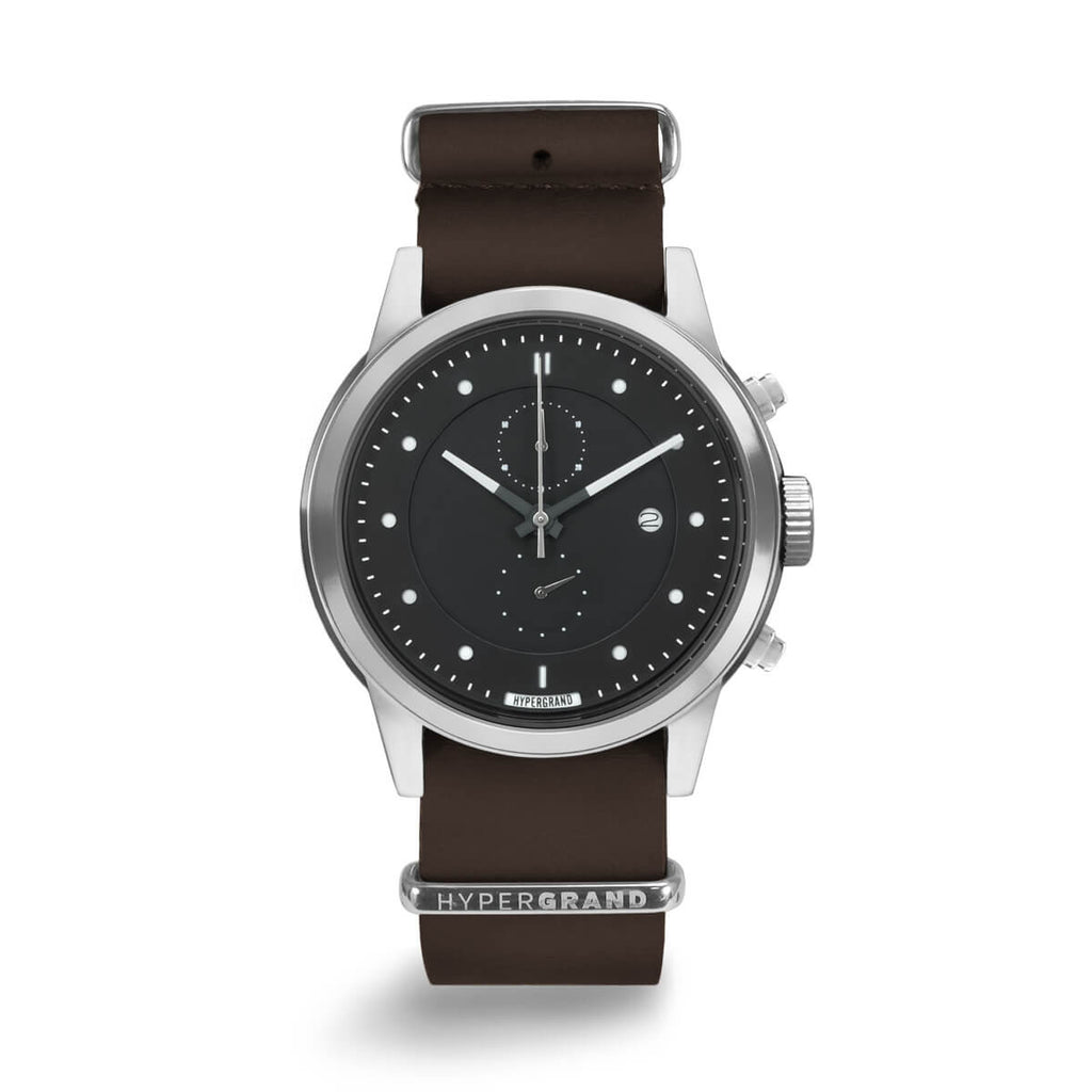 CHRONO SILVER BLACK OAK BROWN LEATHER NATO - quality watches made affordable by HYPERGRAND