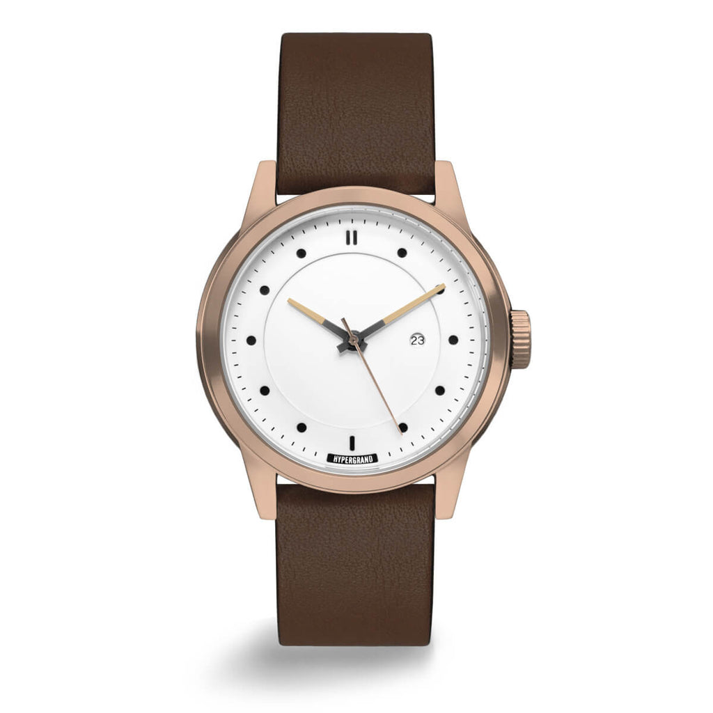 ROSE GOLD WHITE CLASSIC BROWN - quality watches made affordable by HYPERGRAND