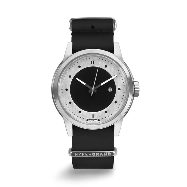 SILVER SILVER BLACK LEATHER NATO - quality watches made affordable by HYPERGRAND