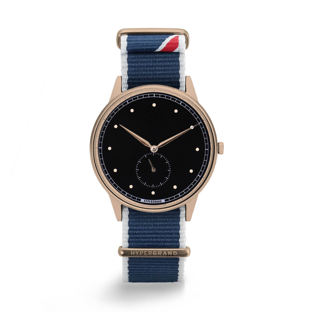 ROSE GOLD BLACK STRAIGHT JACQUARD NATO - quality watches made affordable by HYPERGRAND