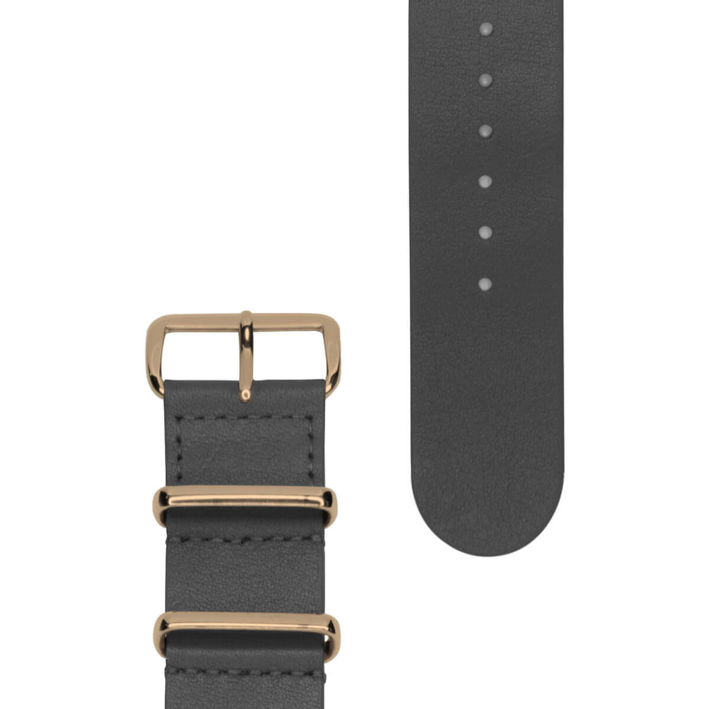 Grey Leather NATO Strap | 22mm - quality watches made affordable by HYPERGRAND