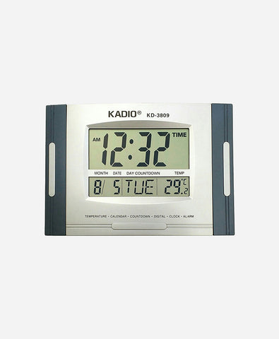 Kadio Digital Wall Clock (Grey, With Glass)