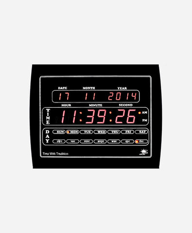 Shree Archi Digital Wall Clock (Black, With Glass)