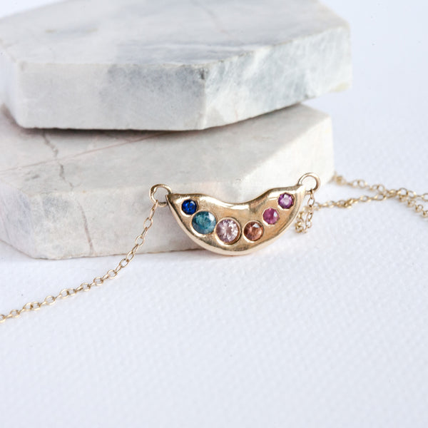 Box of Light sapphire and ruby necklace