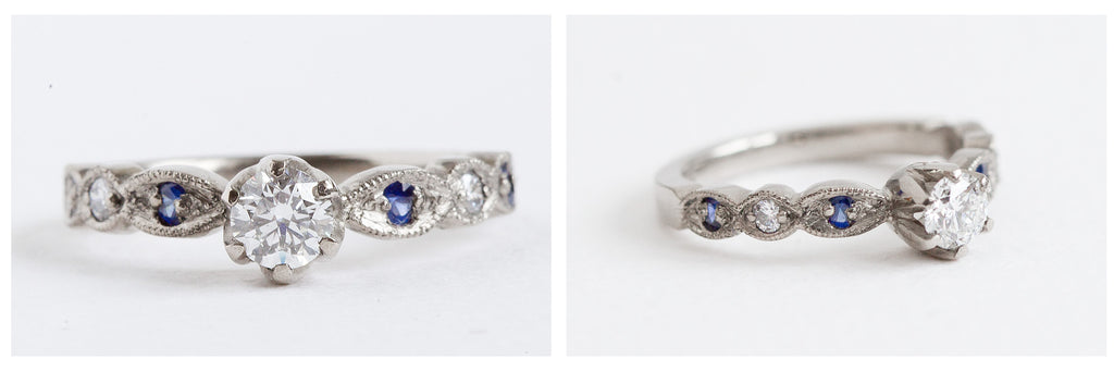 Diamond and sapphire unique engagement ring