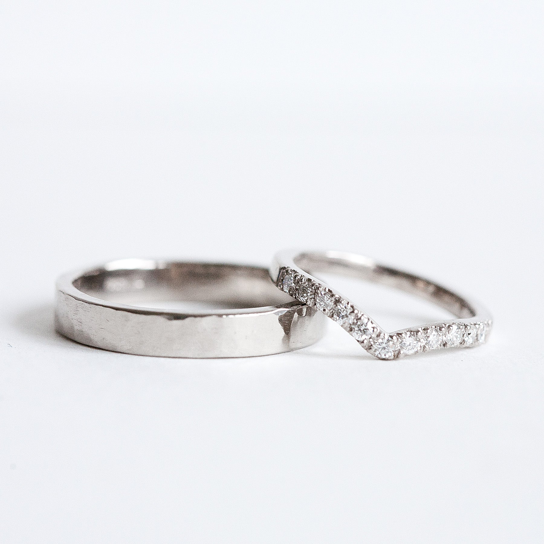 Fairtrade white gold and diamond wedding rings