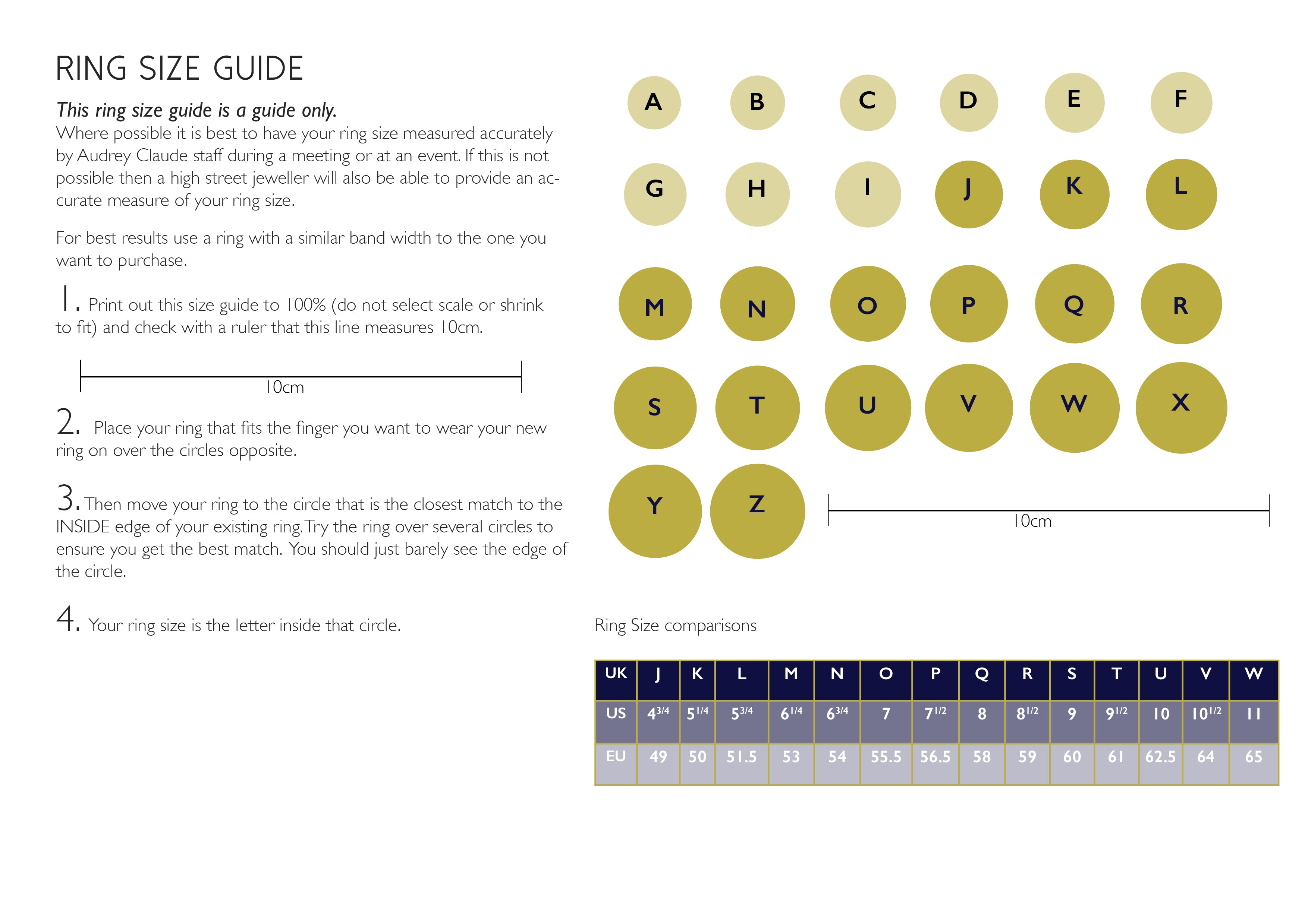 photo regarding Printable Ring Size Chart named Ring Dimensions - Audrey Claude Jewelry