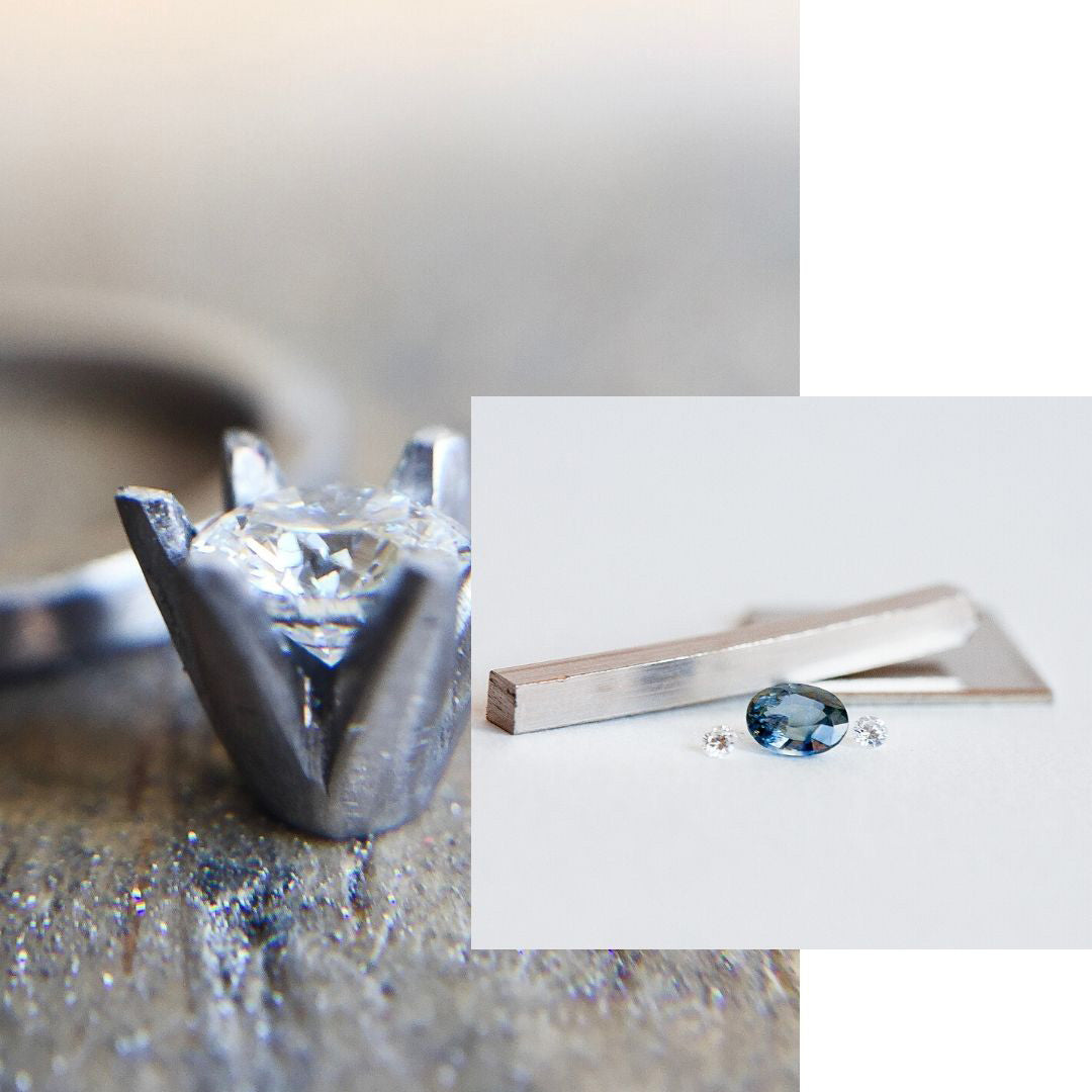 Ethically sourced materials being used, fairtrade white gold, sapphire and diamonds