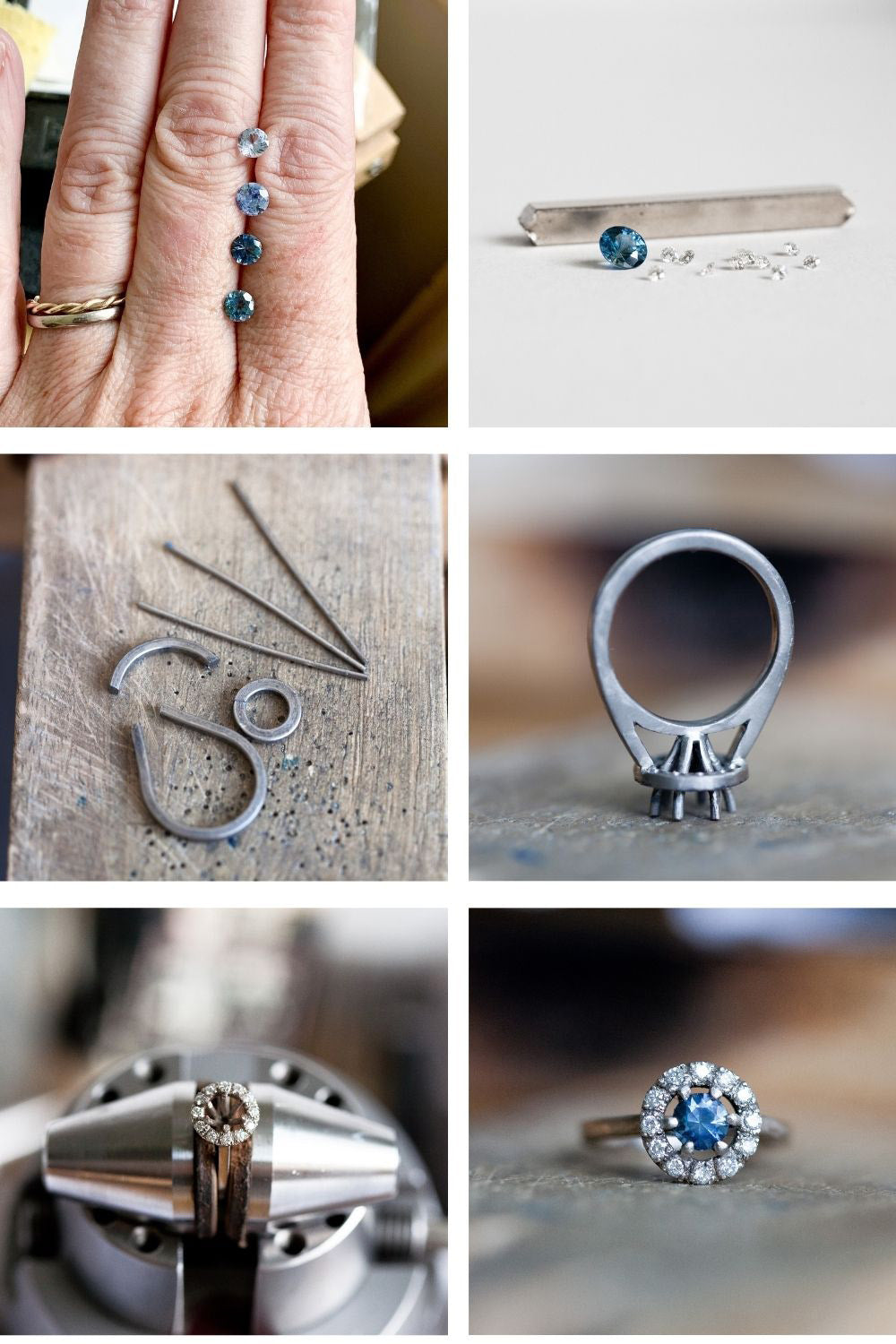 Sapphire and diamond halo ring in the making