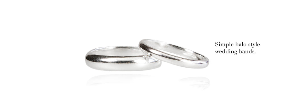 Simple halo style wedding bands