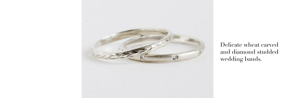 Delicate wheat carved and diamond studded wedding rings