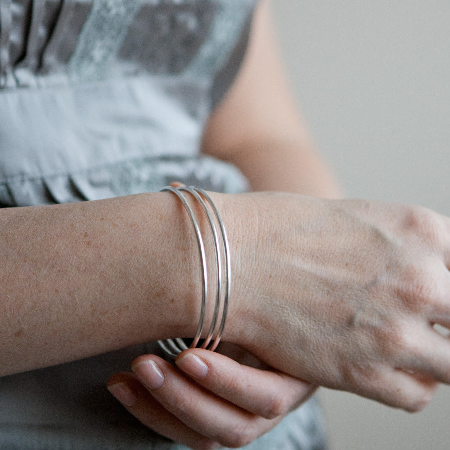 Narrow Silver Bangle Set