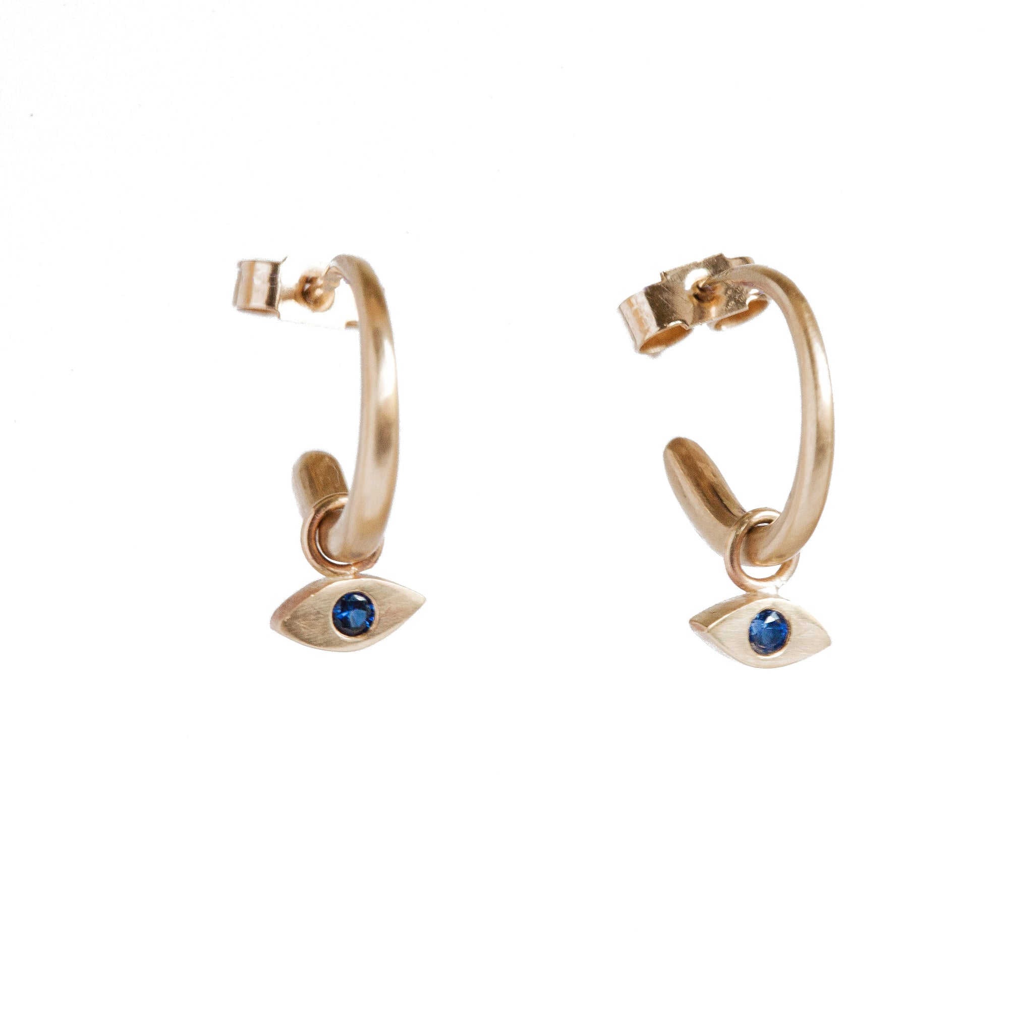 Small Gold Hoops with Sapphire Drops