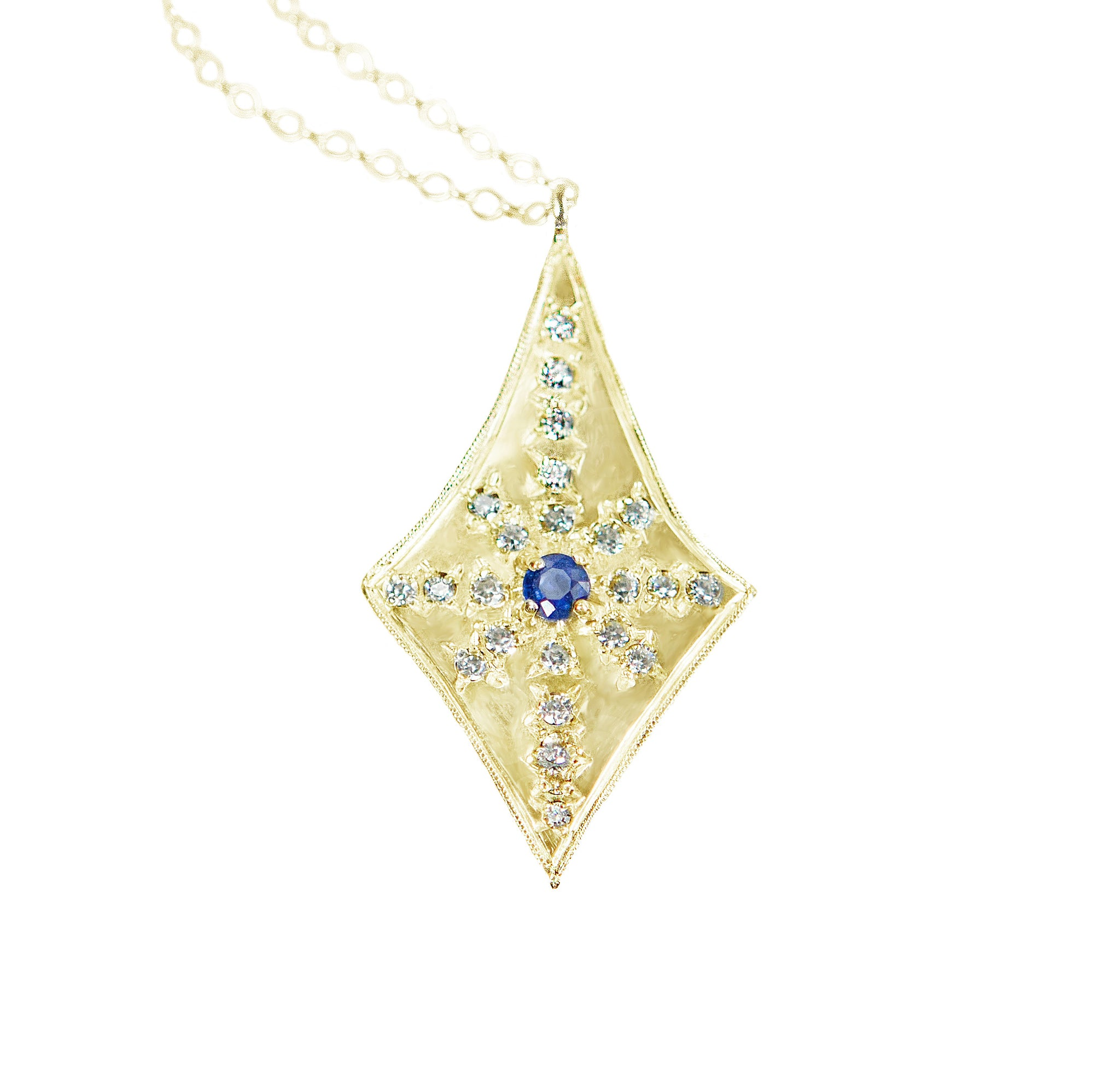 Santuari Sapphire and Diamond Teardrop Necklace