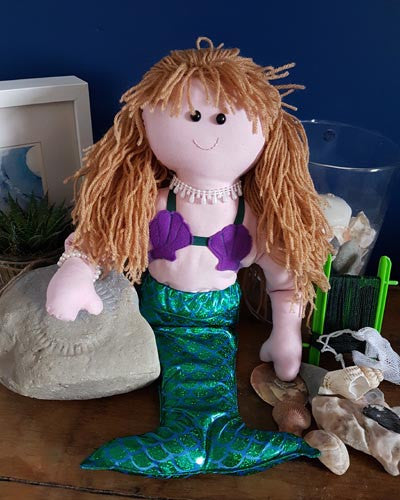digital pdf pattern for rag doll mermaid Dolly Pattern