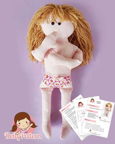 Custom Rag Doll Sewing Pattern - 'Dolly' only