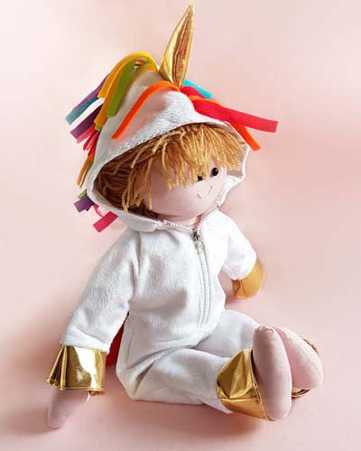 Dolly Pattern rag doll pattern for a unicorn onesie jumpsuit